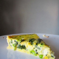 Spinach, Pea, and Pesto Quiche